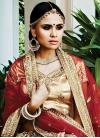 Classy Beige and Red Net A Line Lehenga Choli For Bridal - 1
