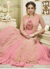 Cream and Pink Faux Georgette Jacket Style Salwar Kameez - 1