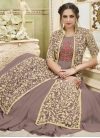 Brown and Cream Jacket Style Long Length Suit For Party - 1