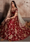 Embroidered Work Crepe Velvet A - Line Lehenga - 1