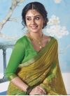Green and Olive Print Work Classic Saree - 2