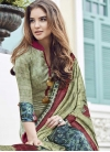 Beige and Navy Blue Pant Style Straight Salwar Suit For Ceremonial - 1