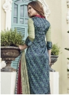 Beige and Navy Blue Pant Style Straight Salwar Suit For Ceremonial - 2