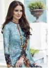 Satin Silk Aqua Blue and Grey Digital Print Work Pant Style Salwar Kameez - 1