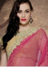 Miraculous Beads And Mirror Work Half N Half Wedding Saree - 1