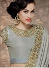 Precious Embroidery And Stone Work Half N Half Wedding Saree - 1