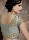 Precious Embroidery And Stone Work Half N Half Wedding Saree - 2