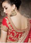 Modern Red And Beige Color Net Half N Half Wedding Saree - 2