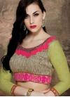Modernistic Floral Work Net Designer Saree - 2