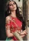 Khadi Silk Red and Turquoise Resham Work A Line Lehenga Choli - 1
