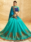 Blue and Light Blue Chiffon Satin Designer Half N Half Saree - 1
