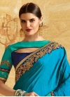 Blue and Light Blue Chiffon Satin Designer Half N Half Saree - 2