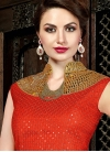 Integral Print Work Cream and Red Satin Long Length Salwar Kameez For Party - 2