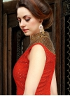 Integral Print Work Cream and Red Satin Long Length Salwar Kameez For Party - 1