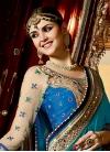 Beige and Teal Fancy Fabric Half N Half Designer Saree For Bridal - 2