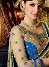 Beige and Teal Fancy Fabric Half N Half Designer Saree For Bridal - 1