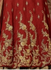 Beige and Maroon Silk Pant Style Classic Salwar Suit - 1