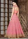 Beige and Pink Net Designer Kameez Style Lehenga Choli For Festival - 2