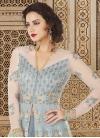 Grey and Off White Embroidered Work Designer Kameez Style Lehenga Choli - 1