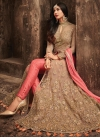 Beige and Salmon Embroidered Work Pant Style Classic Salwar Suit - 1