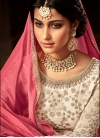 Embroidered Work Off White and Rose Pink Faux Georgette Kameez Style Lehenga Choli - 1