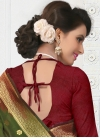 Exceptional Banarasi Silk Maroon and Olive Contemporary Style Saree - 2