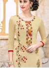 Cream and Red Pant Style Straight Salwar Kameez For Casual - 1