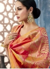 Gold and Rose Pink Lace Work Traditional Saree - 1