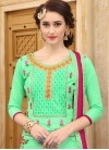 Fuchsia and Mint Green Embroidered Work Pant Style Straight Salwar Suit - 1