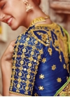 Impressive Beads Work Aloe Veera Green and Navy Blue Designer Traditional Saree - 1