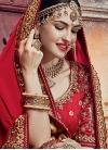 Sunshine  Beige and Crimson Beads Work Half N Half Designer Saree - 1
