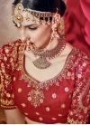 Sunshine  Beige and Crimson Beads Work Half N Half Designer Saree - 2