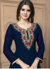 Embroidered Work Faux Georgette Palazzo Straight Salwar Kameez - 1