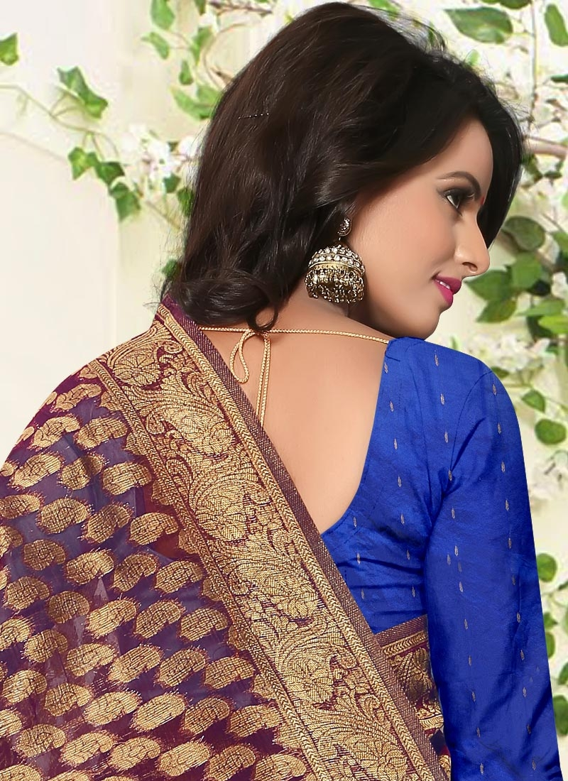 941834d109 ... Awe Resham Work Banarasi Silk Blue and Gold Classic Saree For Ceremonial  - 1 ...