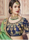Mint Green and Navy Blue Classic Saree For Party - 1