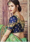 Mint Green and Navy Blue Classic Saree For Party - 2