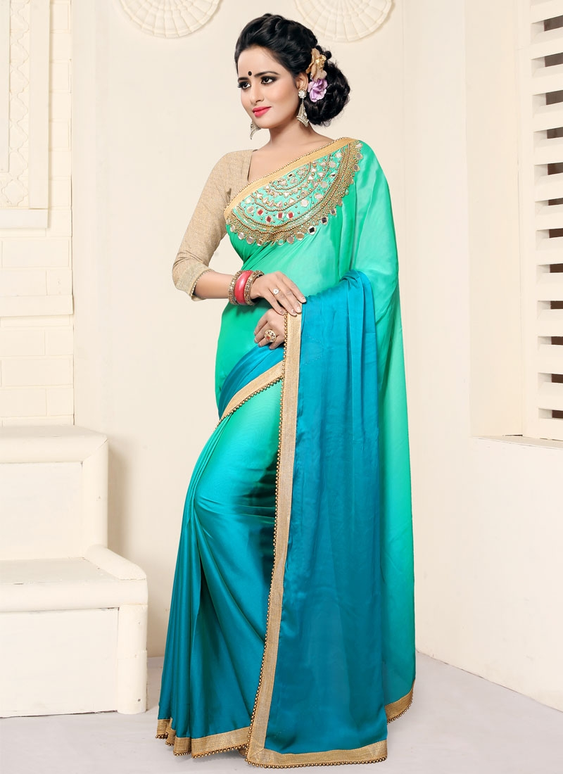 Hypnotizing Beads Work Light Blue And Turquoise Traditional Saree