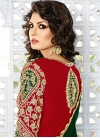 Whimsical Silk Green and Red Designer Patiala Salwar Kameez - 1