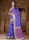 Blue and Rose Pink Thread Work Contemporary Style Saree - 1