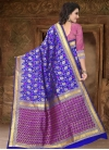 Blue and Rose Pink Thread Work Contemporary Style Saree - 2