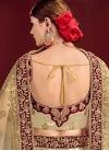 Cream and Maroon Satin Lehenga Choli For Bridal - 2