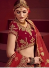 Cream and Red A Line Lehenga Choli For Bridal - 1