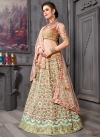 Aari Work Salmon and Turquoise Lehenga Choli - 1
