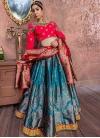Rose Pink and Teal Banarasi Silk Trendy Lehenga For Bridal - 1