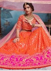 Embroidered Work Orange and Rose Pink Art Silk A - Line Lehenga - 2