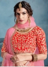 Embroidered Work Orange and Rose Pink Art Silk A - Line Lehenga - 1