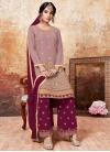 Embroidered Work Crimson and Pink Designer Palazzo Salwar Kameez - 1