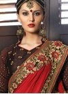 Exceptional Coffee Brown and Crimson Embroidered Work Traditional Saree - 1