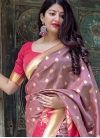 Thread Work Brown and Rose Pink Trendy Saree - 1