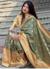 Beige and Sea Green Traditional Designer Saree - 1